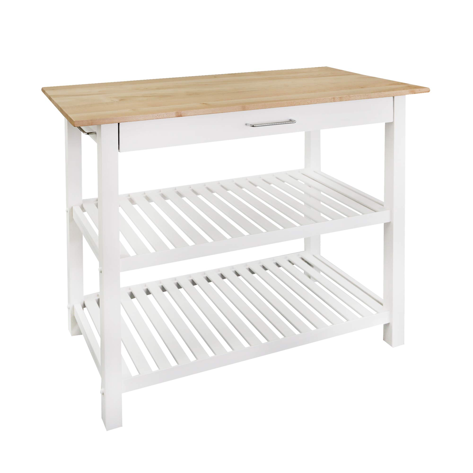 Casual Home Kitchen Island with Solid American Hardwood Top, White by Casual Home