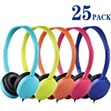 Bulk Headphones 25 Pack Multi Colored for Classroom, HONGZAN Wholesale Stereo Kids Headphones Earphones for Students, Schools, Libraries, Laboratories, Museums, Testing Centers, Hotels (5 Mixed Color)
