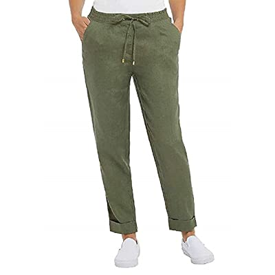 Adrienne VITTADINI Ladies' Pull-On Linen Ankle Pants (Caper, X-Large) at Women's Clothing store