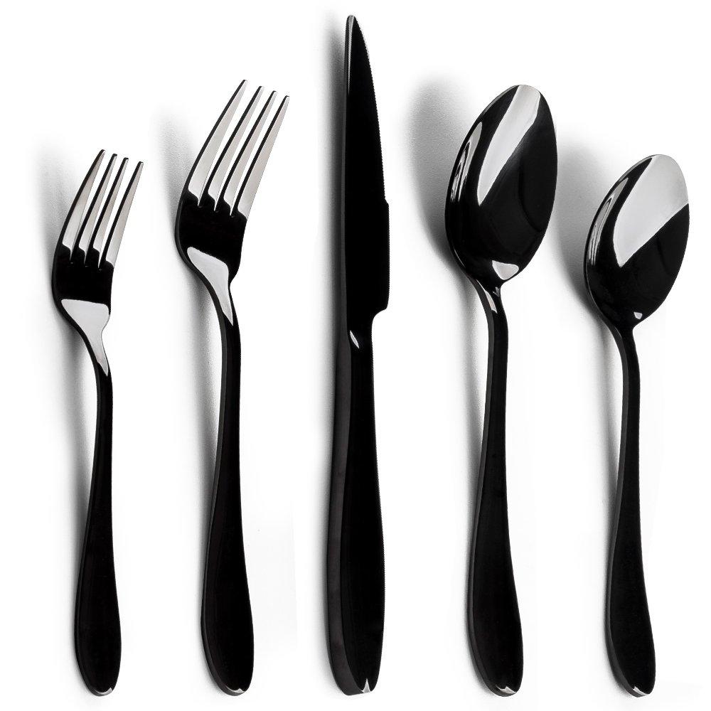 Silverware Set, E-far 20-Piece Black Stainless Steel Flatware Utensil Set Service for 4, Include Knife/Spoon/Fork, Mirror Polished, Dishwasher Safe