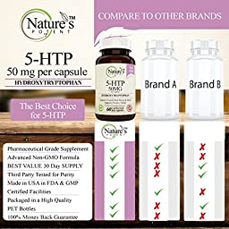 Nature\'s Potent - 5-HTP Supplement, 50 mg (per capsule) Supports: Weight Loss, Mood, Stress & Sleep , 60 Capsules