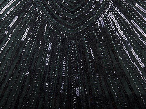 Vijiv Art Déco Gatsby Inspiré Des Années 1920 Perles Pompon Robe Garçonne Vert Foncé