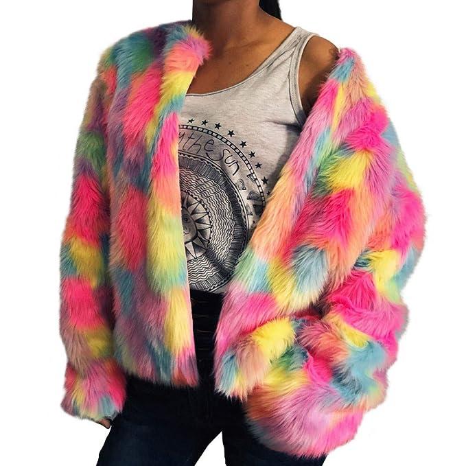 ❤ Mujeres Abrigo Corto, Colorido de Piel sintética Fluffy Coat Chaqueta de Invierno cálido Cardigan de Manga Larga Prendas de Vestir Exteriores Tops ...