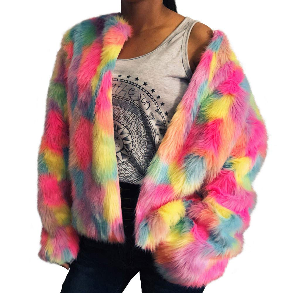 Women Colorful Faux Fur Coat, Sttech1 Winter Warm Jacket Cardigan Long Sleeve Outerwear Tops