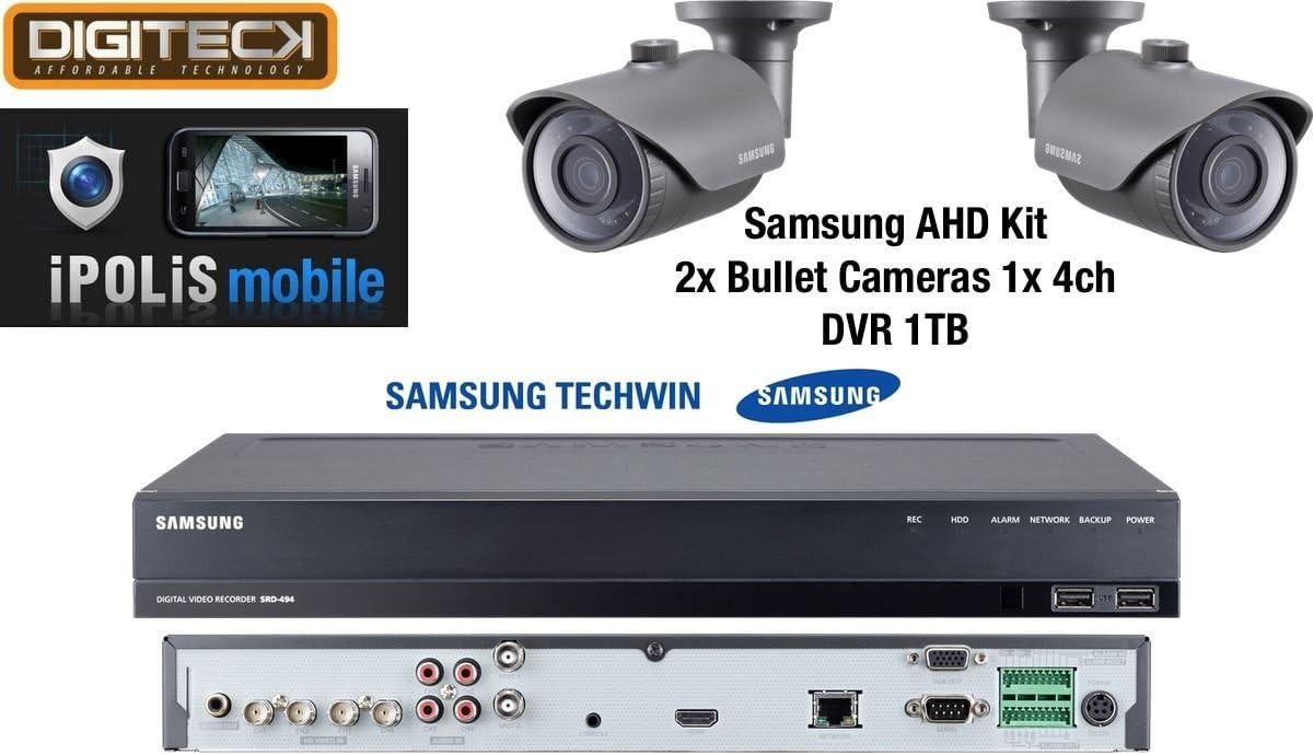 Samsung AHD 1080p, 2 cámaras de Bala IR para Exteriores (SCO-6023R) y 1 Kit de vigilancia 4Ch DVR 1TB (SRD-494)