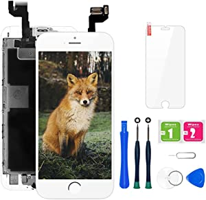 iPhone 6s Screen Replacement, LCD Display & Touch Digitizer Assembly with Proximity Sensor, Front Camera, Ear Speaker, Screen Protector and Repair Tool Kit (iPhone 6s Screen White)