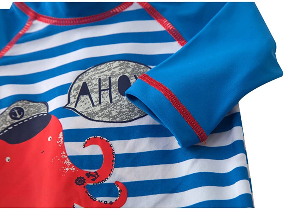 Baby Toddler Boys One Pieces Swimsuit Set Swimwear Octopus Bathing Suit Rash Guards with Hat UPF 50+
