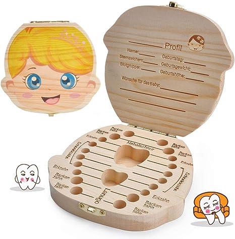 LATTCURE Caja de dientes de leche de madera para caja de recuerdos ...