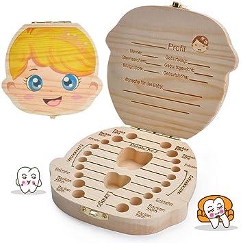 Zahnbox Holz Milchz/ähne Box Milchzahndose aus Holz zur Wort Milchzahnbox f/ür Jungen M/ädchen Souvenir Box Weihnachten Geschenk