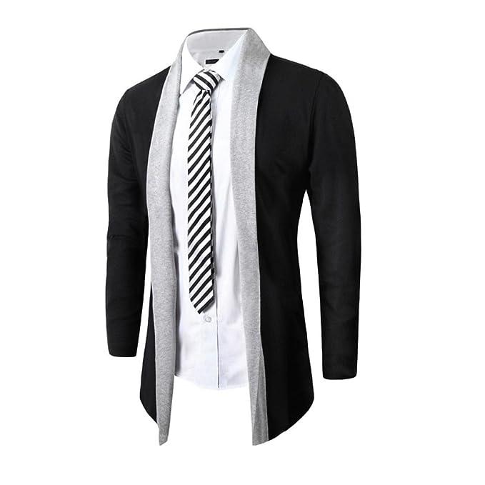 SHOBDW Elegantes hombres moda chaqueta Cardigan Slim manga larga casual Coat L5naKI