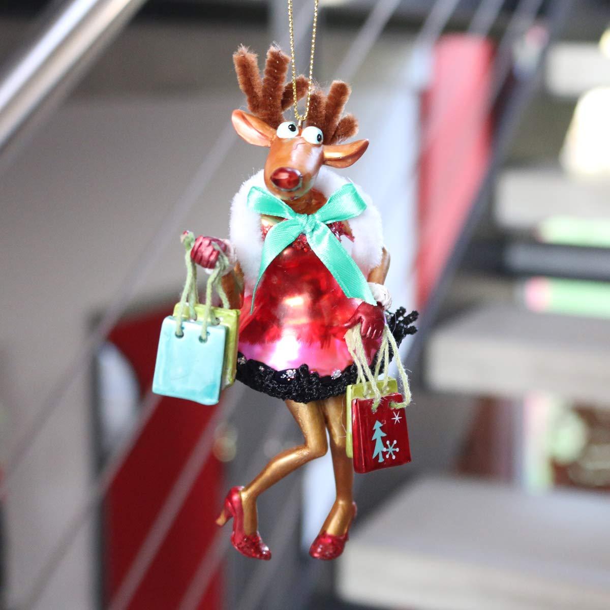 Gift Company x-mas Deko H/änger Christbaumschmuck Motiv Rentier mit T/üten Glas