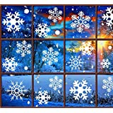 Christmas Decorations Snowflake Window Clings, White Snowflakes Decorations, Winter Snowflake Decals Window Cling Stickers, Snow Ornaments Christmas Decor Gift for Kids [5 sheets, 180pcs]