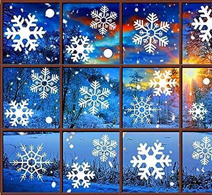 Amazon Com Christmas Decorations Snowflake Window Clings White