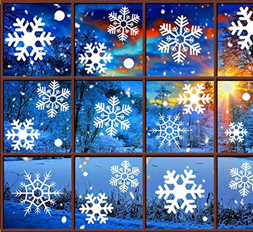 Christmas Decorations Snowflake Window Clings, White Snowflakes Decorations, Winter Snowflake Decals Window Cling Stickers, Snow Ornaments Christmas Decor Gift for Kids [5 sheets, 180pcs] ()