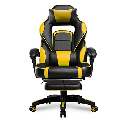 Amazon Com Merax Racing Office Chair Yellow And Black Pu Leather