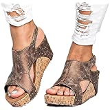 Ruanyu Women Sandals Wedges Peep Toe PU Belt Buckle Rivet Blocking Hook-Loop Fashion Wedges Sandals Summer Platform Sandals
