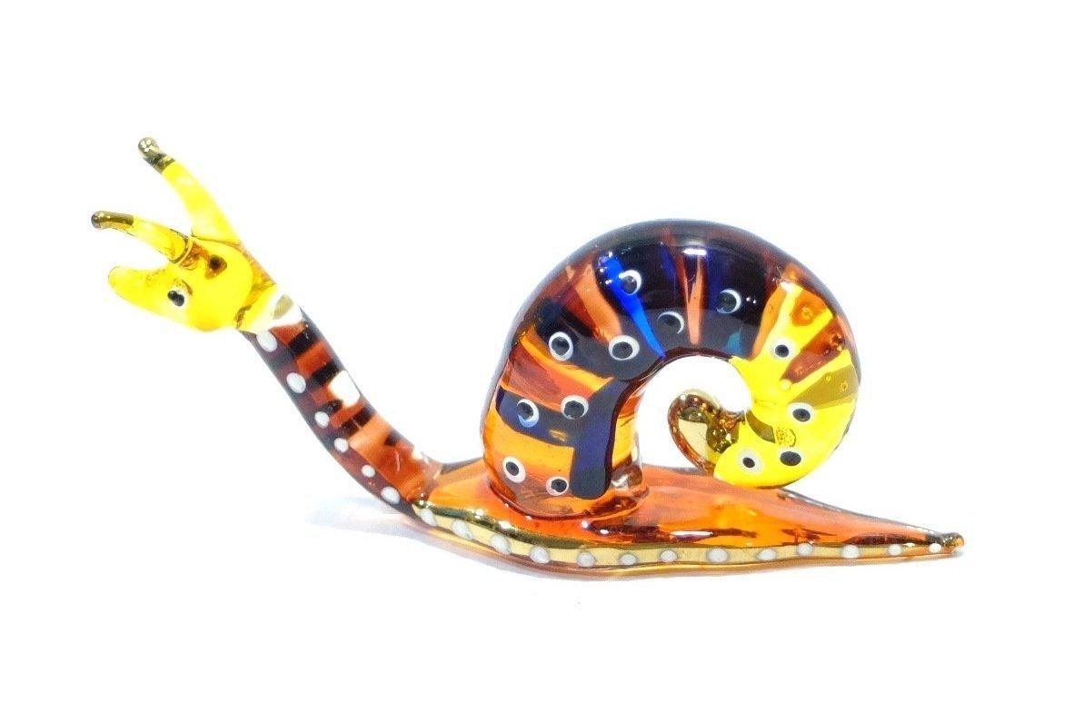 Handmade Snail Art Glass Blown Reptiles Animal Figurine - No.2 by We Are Handmade Figurine Art Glass Blown Figurine Glass Blown