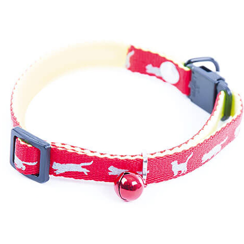 Collier pour chat rouge motifs réflechissant avec relot et anti-étranglement 25/35cm martin sellier