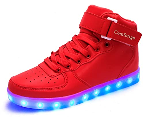 comfortgo Kid luz LED Up – High Top Zapatos Niña Niño Moda Zapatillas (Toddler/