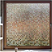 RABBITGOO Decorative Window Film, Privacy Window Clings, Rainbow Window Decals, Stained Glass Window Sticker, Door…