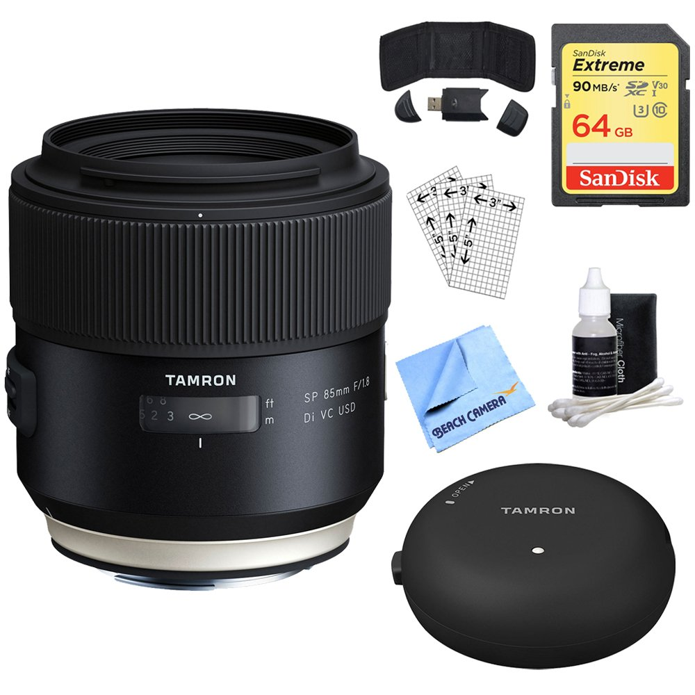 Tamron SP 85 mm f1.8 Di VC USDレンズfor Canon full-frame EFカメラ(aff016 C-700 ) +アクセサリーバンドルIncludes、Tamron tap-inコンソールレンズアクセサリー、64 GBメモリカード、カードリーダー、カード財布& More   B079Z9GJXF