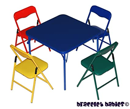 Amazon.com: Children\'s Folding Table & Folding Chairs Furniture Set ...