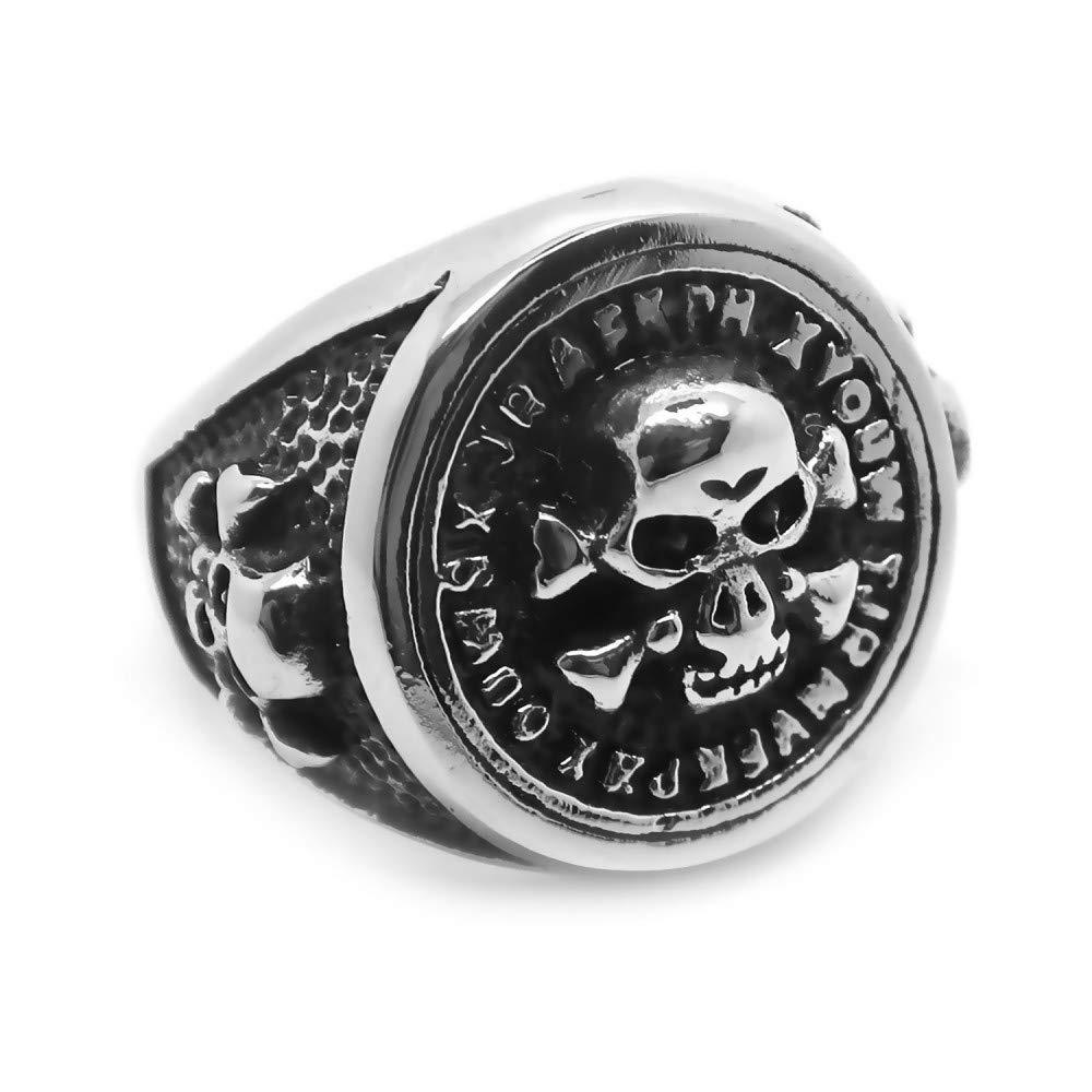 BOBIJOO Jewelry - Bague Chevalière Homme Crâne Tête de Mort Tibias Croisés Danger Pirates Terreur
