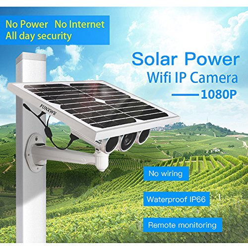 Funxwe 1080P Full-HD Solar Power WiFi IP Camera P2P Wireless AP Network 2 0  Megapixels Starlight Night Vision Outdoor Battery Powered