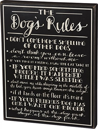 Primitives by Kathy Box Sign, 13.25 x 17-Inch, The Dog's Rules