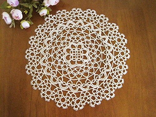 "Fennco Styles Handmade All-over Tatting Lace Doily 100% Cotton - Set of 4 (4"" Round Doily, Ecru)"