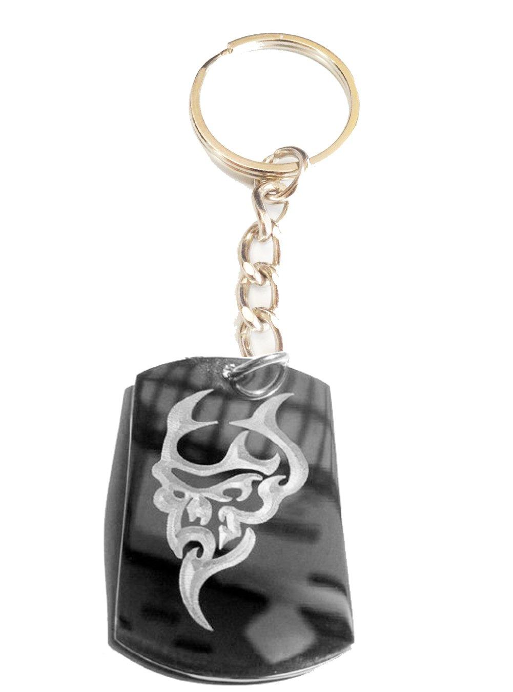 Devil Satan Satanic Face Skull Evil Logo Symbol Metal Ring Key Chain Keychain