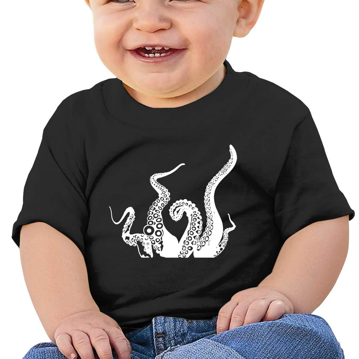 ZUGFGF-S3 Octopus1 Boy Girl Newborn Short Sleeve T-Shirt 6-24 Month Cotton Tops