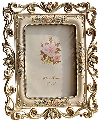 Gift Garden Vintage Picture Frame 5 by 7 -Inch Hollow up for Photo 5x7 (Vintage Frames Photo)