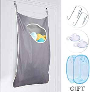 MEILE Hanging Laundry Hamper Bag Space Saving Wall with Stainless Steel Hooks Dirty Clothes Bag Large Storage Folding Basket Large Capacity Storage College, Closet, Behind Doors(Style 1