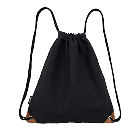 2f6f3bf687 SAMGOO Drawstring Bag Lightweight Canvas with PU Gym Sack Sport Bags  Backpack (Soild Black)  Amazon.in  Bags