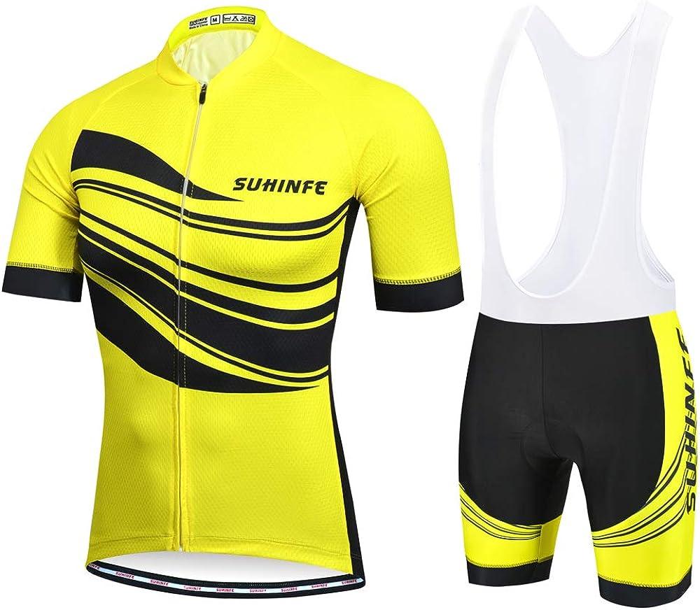 SUHINFE Ciclismo Maillot y Culotte Pantalones Acolchado 5D para Verano Deportes al Aire Libre Ciclo Bicicleta