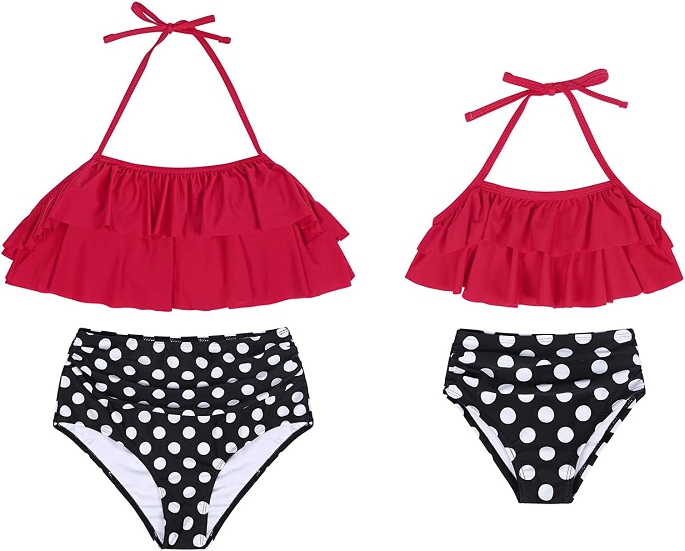 Kantenia Family Matching Swimsuit High Waisted Ruffle Swimwear Two Pieces Bikini Set Mommy and Me Bathing Suits