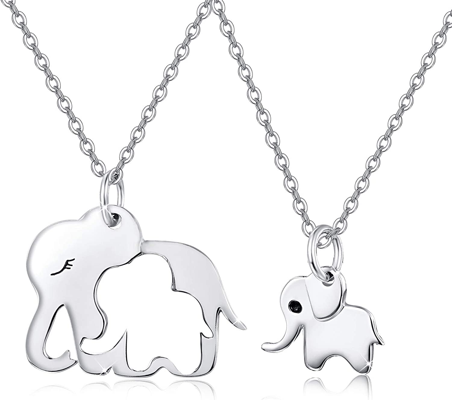 Silver elephant jewelry set