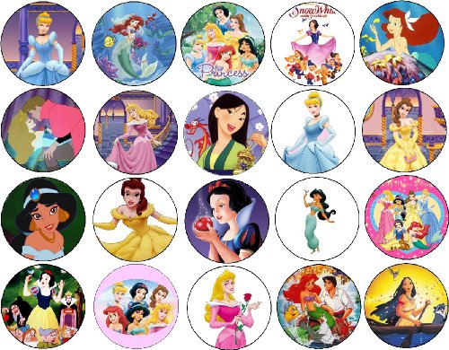 Click for larger image of Set of 20 Disney Princess Collection Pins 1.25' Buttons