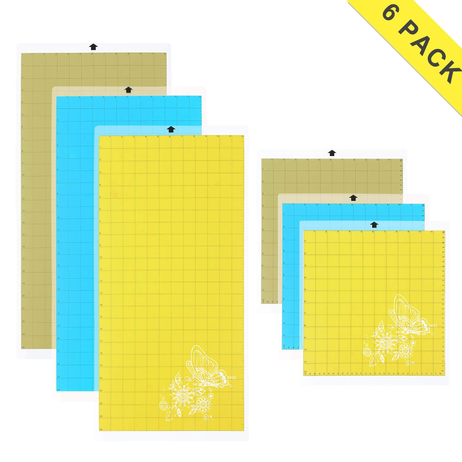 Cutting Mat Variety 6 Packs Adhesive Replacement - Strong, Standard, Light Grip Suit for Cricut, Silhouette, 12in x 12in x 3 Packs, 12in x 24in x 3 Packs.
