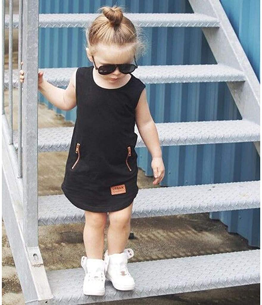 Cute Infant Baby Kids Sleeveless Solid Zipper Pocket Dress Outfit Clothing Willsa Girls Dresses