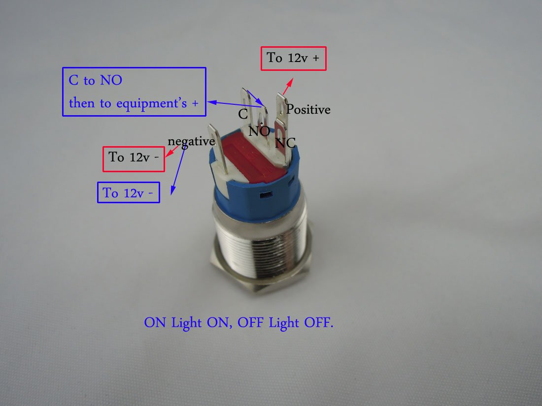 New 12v 5a 19mm Red Led Momentary Push Button Metal Switch Car Wiring Setup For Blue 22mm Stainless Steel Boat Speakers Bells Horn Tools Home Improvement