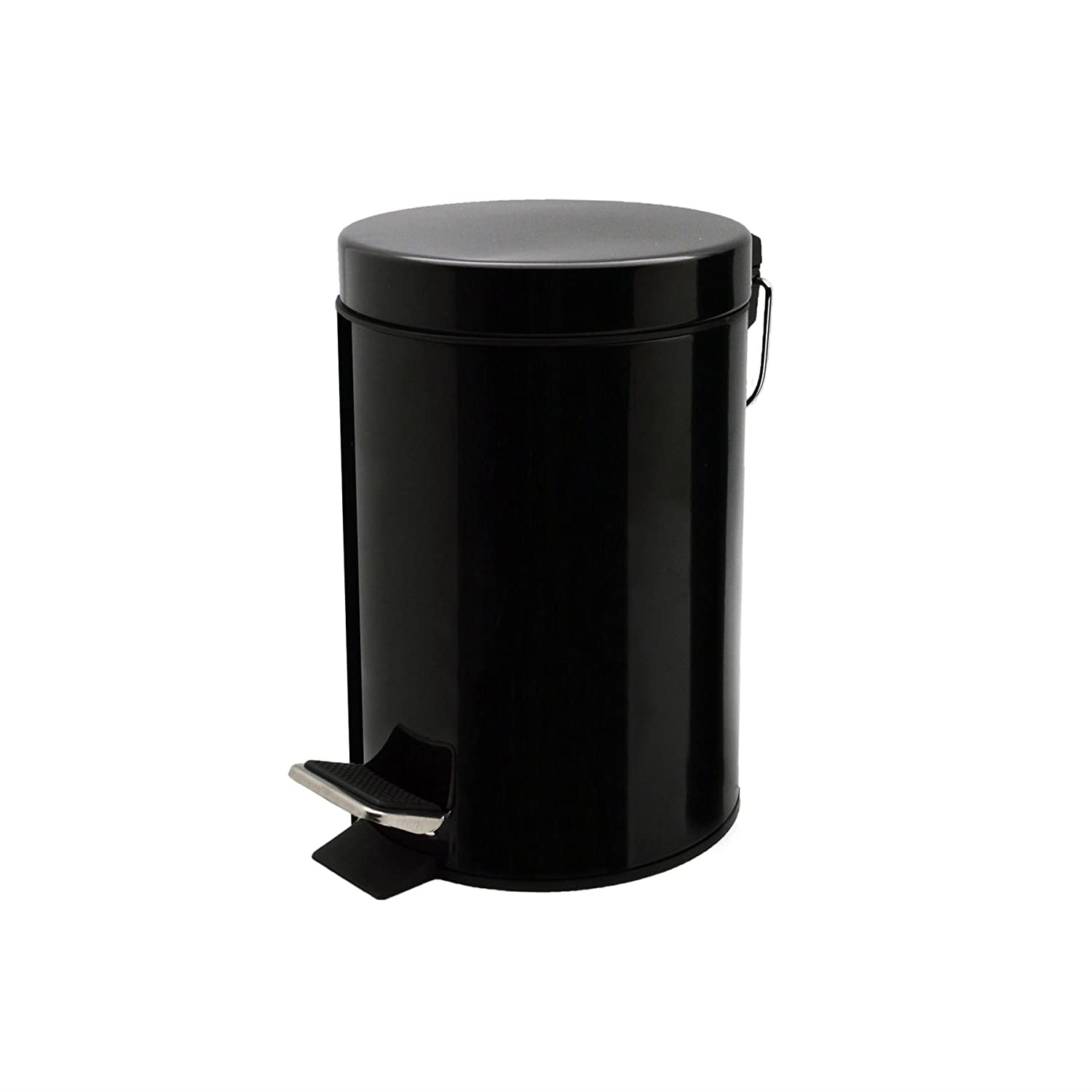 Harbour Housewares Bathroom Pedal Bin With Inner Bucket - 3 Litre Bin - Black Finish