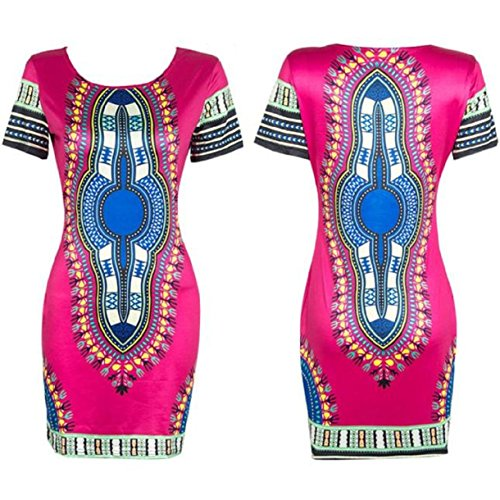 Lookatool Women Traditional African Print Dashiki Bodycon Short Sleeve Dress (XXL, Hot pink)