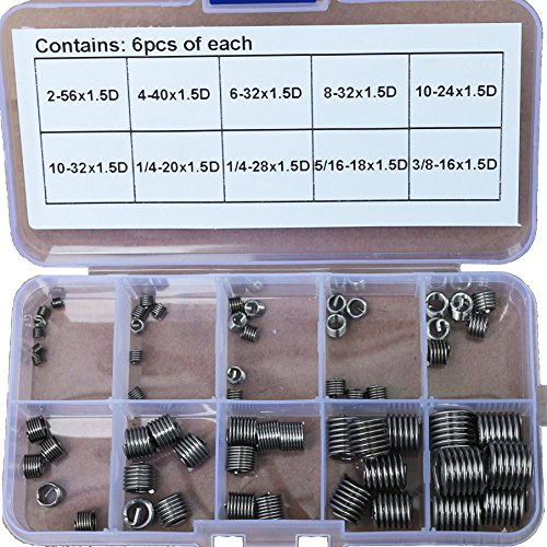 60pcs Unified USA 304 Stainless steel Helicoil Thread Repair Insert Assortment Kit - 16 Thread Repair Kit