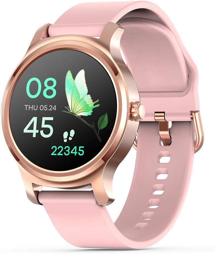 Otti-3S Smartwatch Fitness Tracker Monitor de ritmo cardíaco Cómo hacer / contestar el teléfono ALTAVOZ Notificaciones Facebook / whatsapp IP67 Impermeable Android / IOS (Rosa)