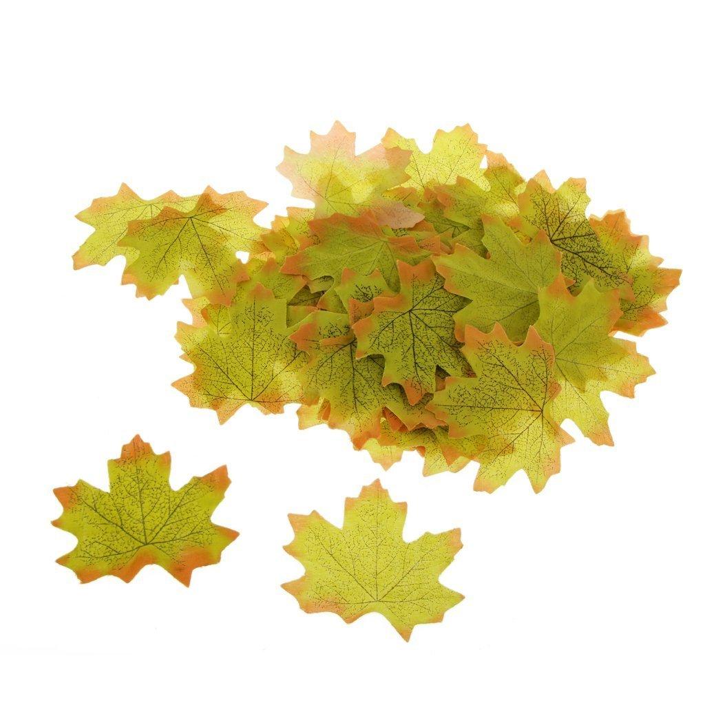 ebtoys 100個人工Fall Autumn Maple LeafシルクLeavesウェディングガーデンデコレーション – グリーン B07CZL5L1F