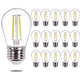 Jslinter S14 LED Edison Light Bulbs, 2W, 2700K Warm White, 20W Equivalent, E26 Medium Screw Base, Shatterproof & Waterproof,