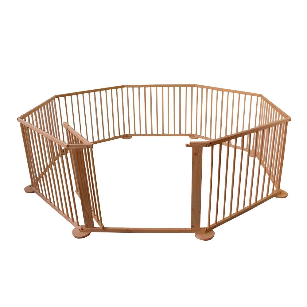 Modelo de 8 Paneles 1-6 a/ños Songtree Parque Valla Madera Natural para Ni/ños Beb/é Barreras de Seguridad
