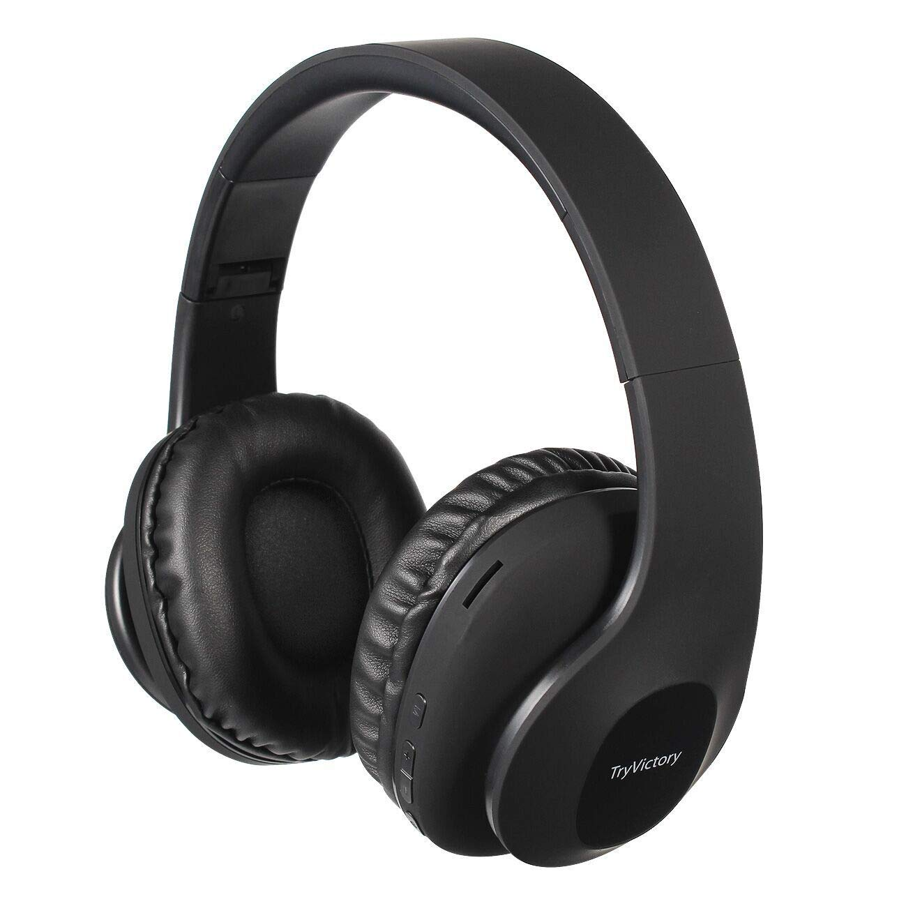 Bluetooth Headphones Over Ear, 15 Hrs Wireless Headphones, Foldable, Soft Memory-Protein Earmuffs,Rechargeable Hi-Fi Stereo Headset,CVC6.0 Headphones with Mic for Cellphone/Tablet/TV(Black)